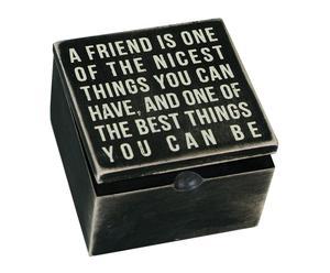 Caja de madera A friend is one – 10x10 cm