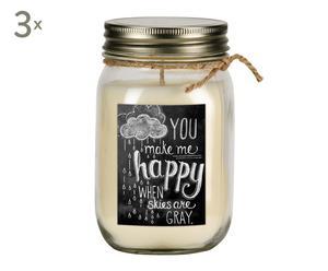 Set de 3 velas You make me happy