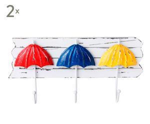 Set de 2 colgadores en madera Sombrillas – multicolor