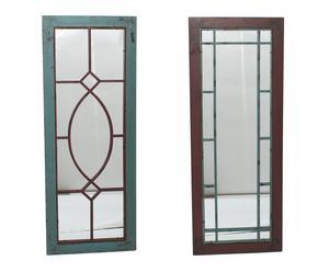 SET de 2 espejos en metal Ventana – verde y rojo