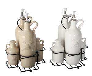 Set de 2 vinagreras de cerámica Gallina – blanco y beige
