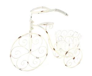 Bicicleta portatiestos con 1 soportes en forja – blanco envejecido