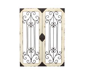 Ventana decorativa en madera y metal – crema envejecido