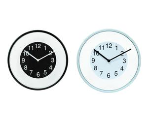 Set de 2 relojes de pared – blanco, negro y transparente