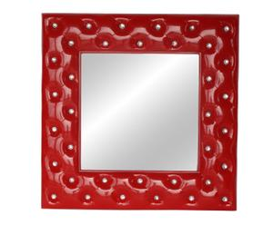 Espejo de pared en resina con filigrana – rojo