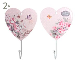 Set de 4 Percheros de Pared en Metal Corazón - Rosa