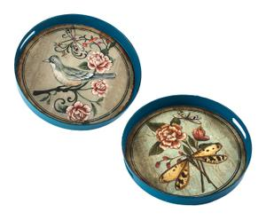 Set de 2 bandejas con asas Flores