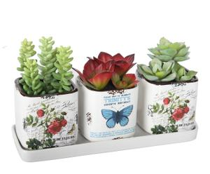 Set de 3 macetas de plantas crasas artificiales