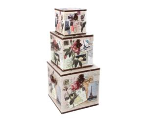 Set de 3 pufs con espacio de almacenaje Postales