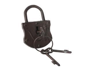 Candado con llaves en hierro colado – marrón óxido