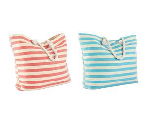 Set de 2 bolsos de rayas en fibra natural y tela – blanco, rojo y azul
