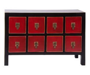 Aparador en DM lacado con 8 cajones – rojo y negro
