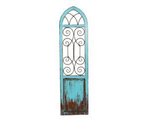 Ventana decorativa en madera y metal – azul envejecido