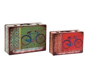 Set de 2 maletas en DM envejecido Bicicleta