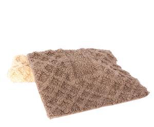 Set de 2 alfombras de baño en algodón trama– beige y marrón