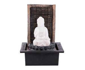 Fuente eléctrica en resina con luz Buda feliz – gris y blanco