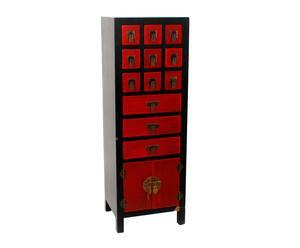 Aparador en pino lacado con 12 cajones y 1 puerta – rojo y negro
