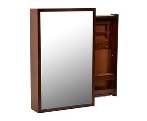 Espejo de pared con joyero en DM - marrón
