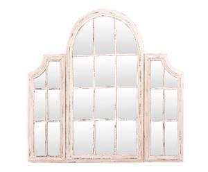 Espejo de pared en madera ventanal - blanco decapado