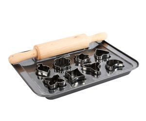 Set de bandeja de metal, rodillo y 10 moldes Galletas