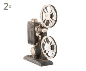 Set de 2 cámaras de cine en resina envejecida