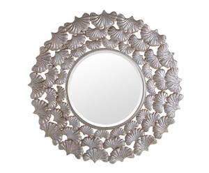 Espejo de metal Hojas - plata
