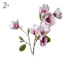 Set de 2 ramas con magnolias artificiales – rosas