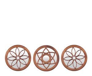 Set de 3 espejos redondos en madera DM – marrón