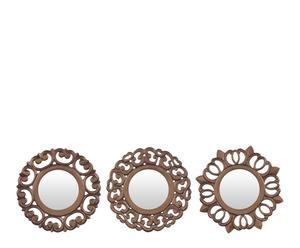 Set de 3 espejos redondos en madera DM – dorado