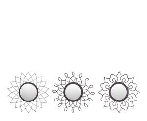 Set de 3 espejos redondos en metal – negro III