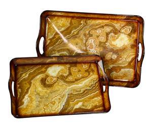 Set de 2 bandejas de plástico – marrón y dorado I