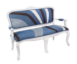 Sofá de madera tapizado en algodón – azul