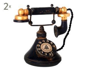 Set de 2 teléfonos decorativos en resina – negro II