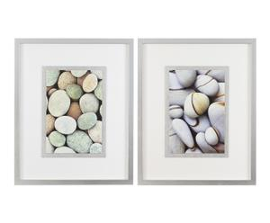 Set de 2 cuadros de piedras enmarcados – blanco y plata