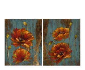 Set de 2 lienzos Flores – naranja