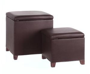 Set de 2 puf cuadrados tapizados en polipiel – marrón