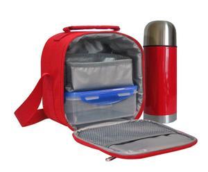 Bolsa isotérmica para recipientes herméticos con termo,  rojo - grande
