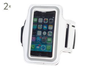 Set de 2 brazaletes deportivos para móvil – blanco