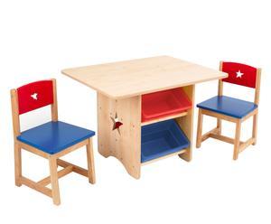 Set de mesa con cajones y 2 sillas en madera I