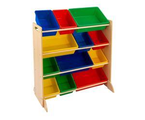 Estantería con cajones de almacenaje en madera y plástico