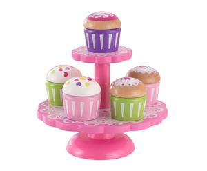 Set de soporte y 8 cupcakes de juguete en madera