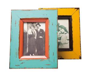 Set de 2 marcos de fotos en DM y vidrio Shabby Chic - 10x15