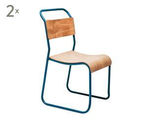 Set de 2 sillas de hierro y madera de haya School – azul y natural