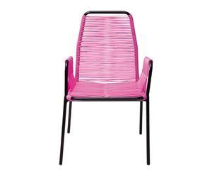 Silla con reposabrazos en hierro y polietileno – rosa
