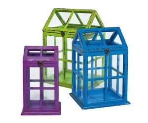 Set de 3 invernaderos – verde, azul y púrpura