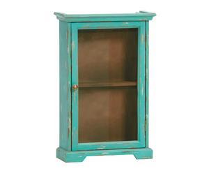 Pequeño armario de pared en madera de paulownia - turquesa
