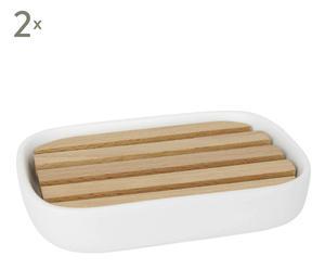 Set de 2 jaboneras en cerámica y madera – blanco