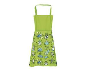 Delantal de cocina en poliéster Bichos – verde y azul