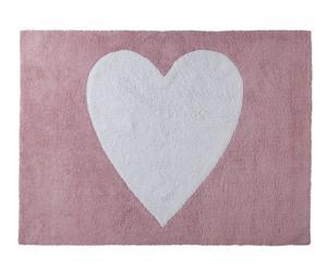 Alfombra lavable Corazón, rosa y blanco - 120x160 cm