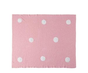 Manta de crochet hecha a mano, rosa - 90x120 cm
